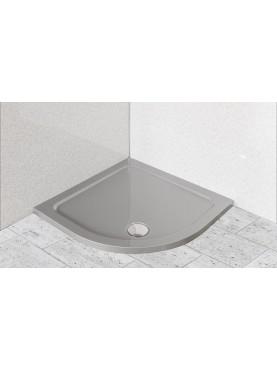 Diamond 35mm Quadrant Stone Slimline Silver Grey 800 x 800 Shower Tray & Chrome Fast Flow Waste - DSQ8080